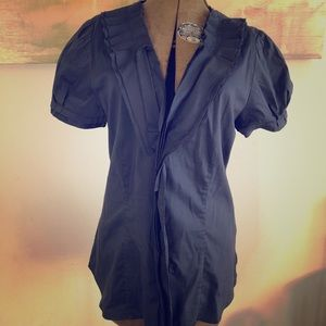 BCBG Cute short sleeved Navy blouse button up M